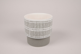A178Y8 Grey ceramic planter D13cm H13cm