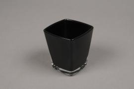 A179I0 Cube en verre conique noir 6x6 H7cm