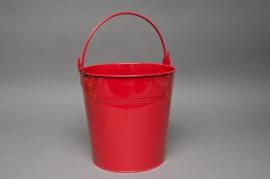 A179KM Seau en zinc rouge D21cm H20cm