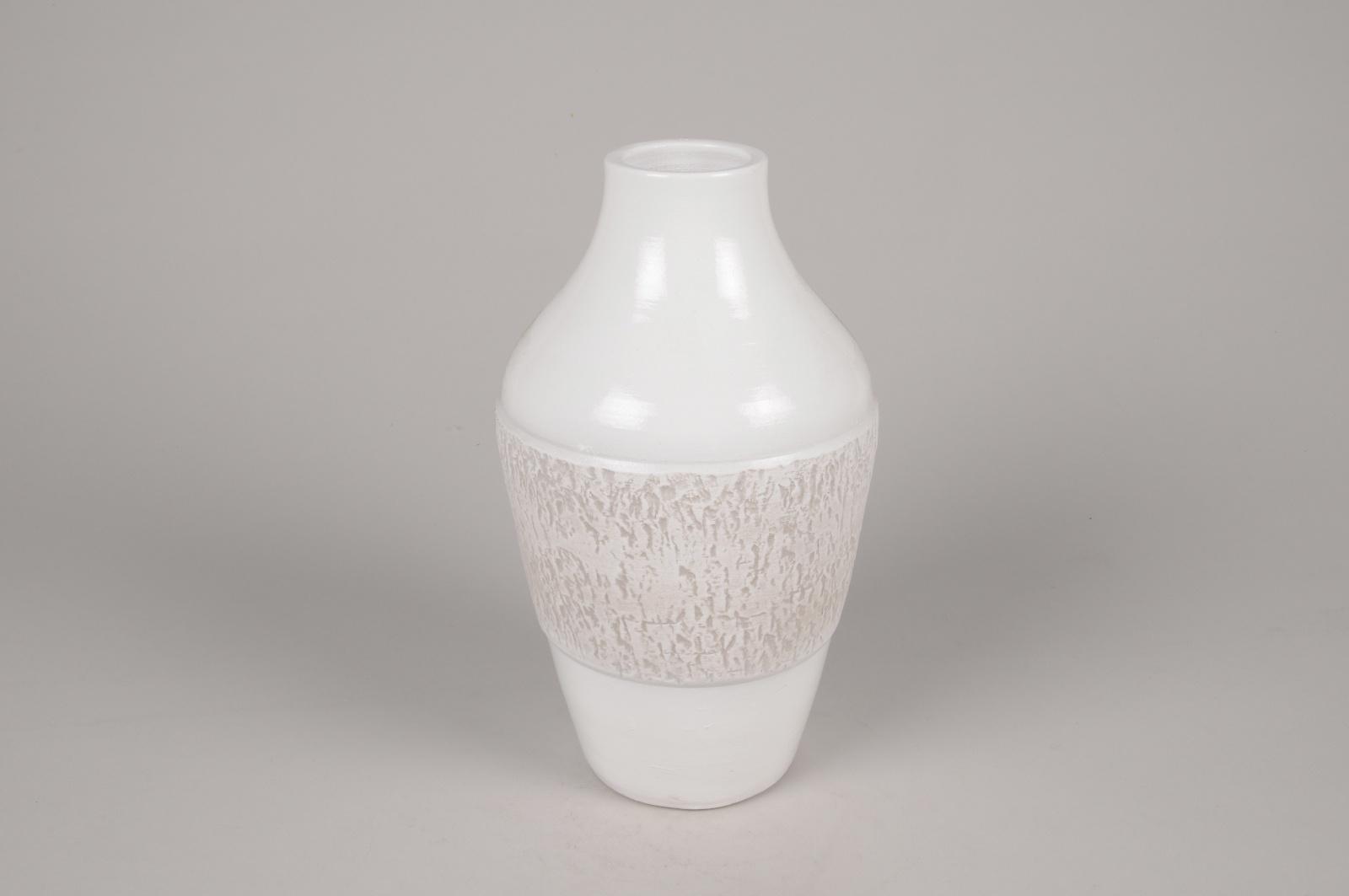 A179Y8 Vase en céramique blanc D15cm H26cm