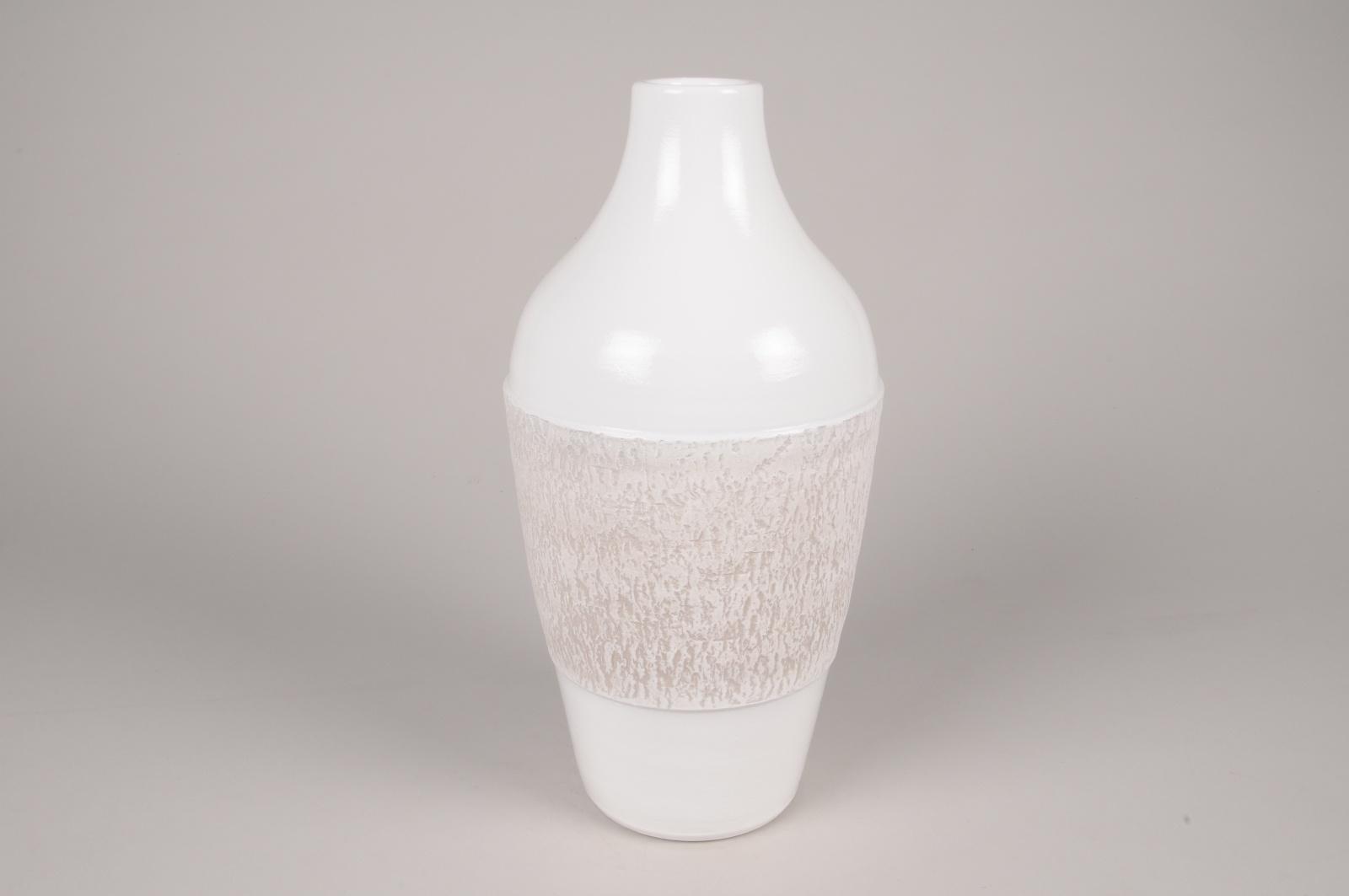 A180Y8 Vase en céramique blanc D17cm H35.5cm