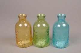 A183I0 Vase bouteille en verre assortis D6.5cm H12.5cm
