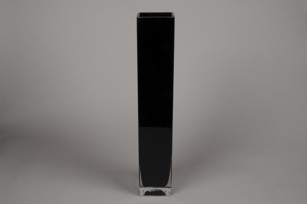 A184I0 Vase en verre carré noir 10x10cm H60cm