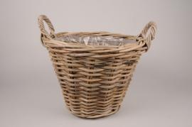 A187NM Rattan baskets planter D40cm H30cm