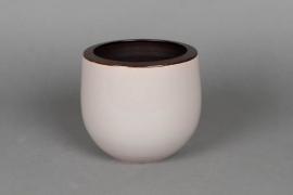 A189QS Ceramic planter cream grey D21cm H21cm