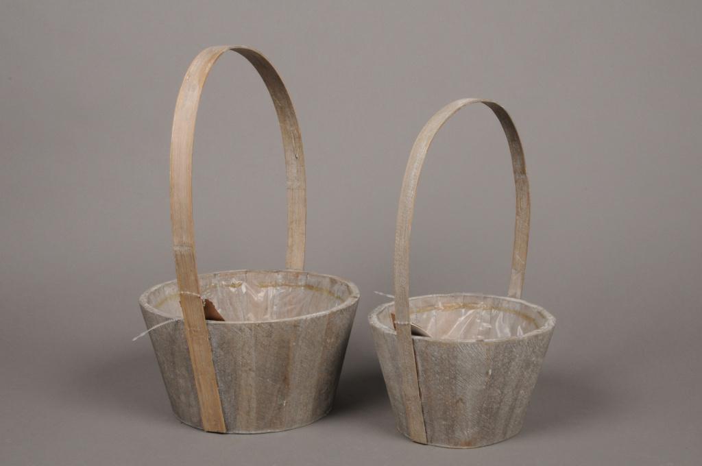 A190U7 Set of 2 wood baskets D18cm H11cm