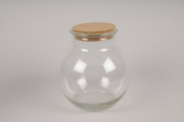 A191DQ Glass vase with cork D19cm H20cm