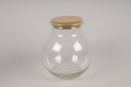 A191DQ Vase en verre avec bouchon D19cm H20cm