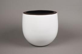 A192QS Cache-pot en céramique blanc D25cm H25cm