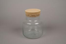 A194DQ Bocal en verre avec bouchon en liège D19cm H23cm