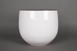 A196QS Ceramic planter white D35cm H35cm