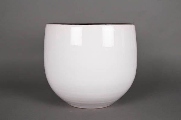 A196QS Ceramic planter white D35cm H35cm
