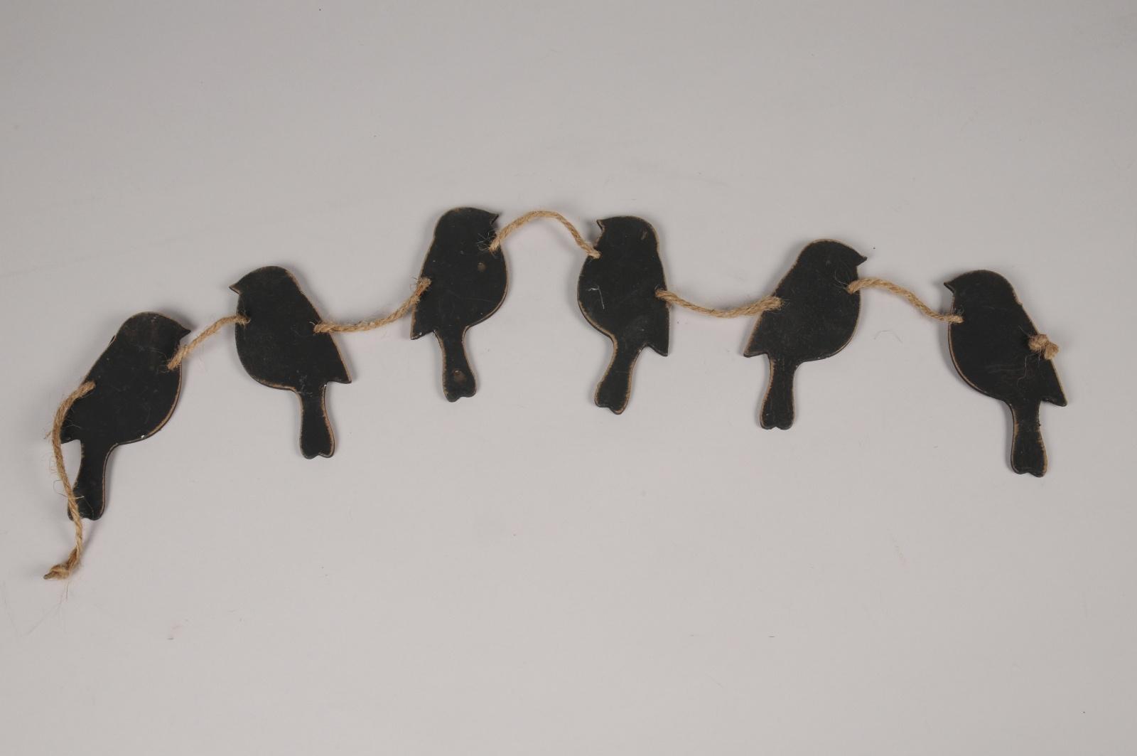A199U7 Guirlande d'oiseaux en bois noirs L58cm