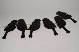 A200U7 Guirlande d'oiseaux en bois noirs L88cm