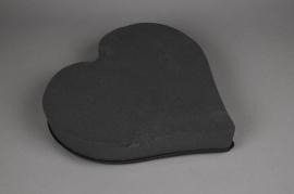 A202QV Coeur mousse florale noir D38cm