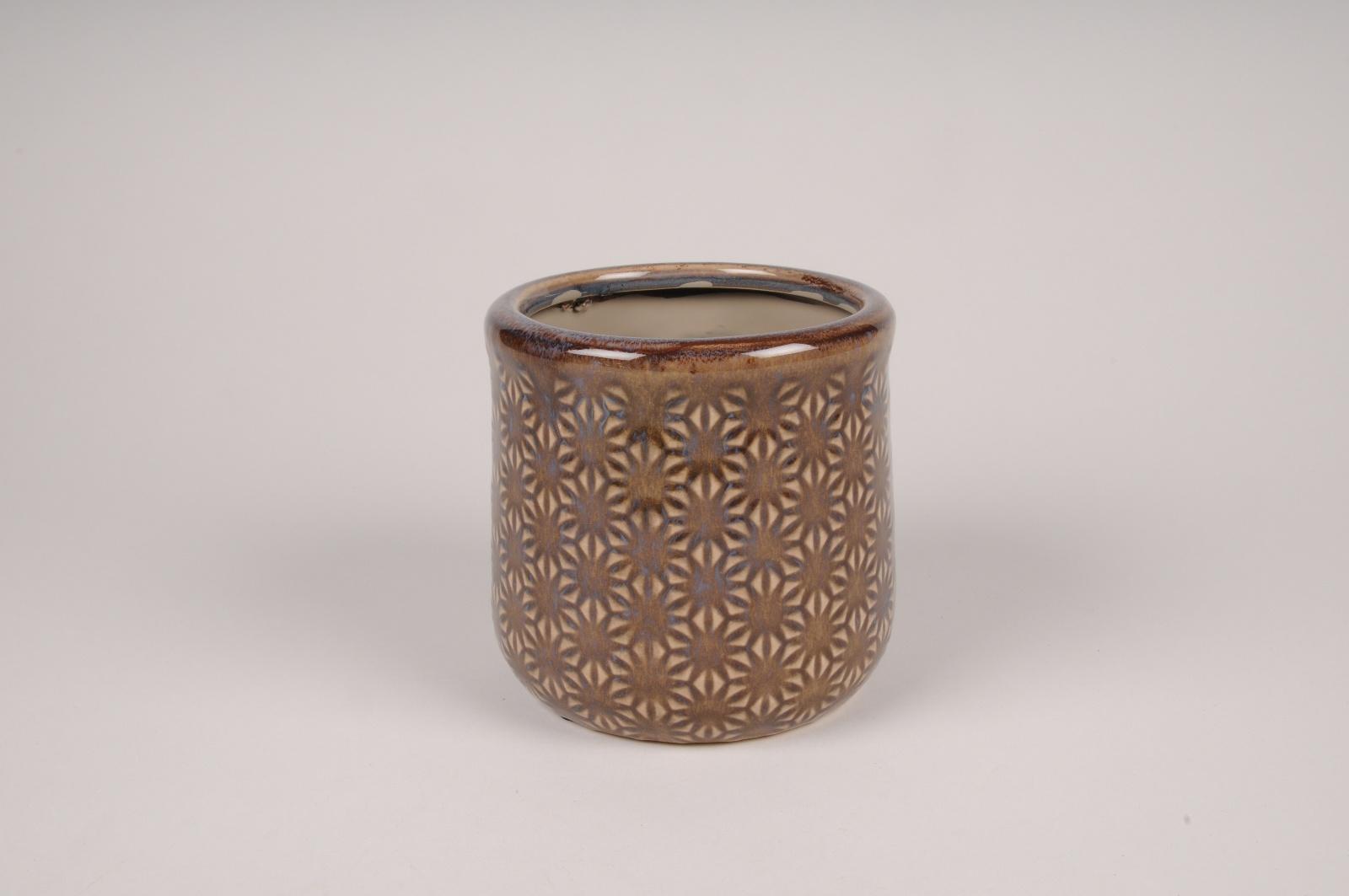 A204NM Cache-pot en céramique marron D12cm H11cm