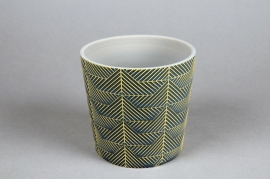 A205DQ Green ceramic planter pot D12.5cm H11cm