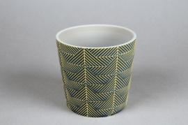 A205DQ Cache-pot en céramique vert D12.5cm H11cm