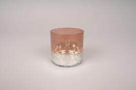 A205KI Photophore en verre cuivre D7.5cm H7.5cm