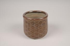 A205NM Brown ceramic planter D14cm H13cm