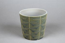 A206DQ Cache-pot en céramique vert D12.5cm H11cm