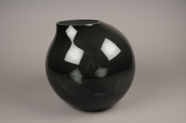 A206IH Design vase glass sphere black H28cm