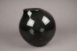 A206IH Design vase glass sphere black H28cm