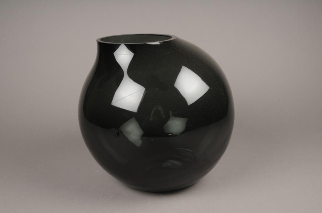 A206IH Vase verre boule déco noir H28cm