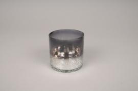 A206KI Photophore en verre gris D7.5cm H7.5cm