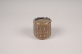 A206NM Brown ceramic planter D8cm H7.5cm