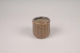 A206NM Cache-pot en céramique marron D8cm H7.5cm