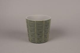 A207DQ Green ceramic planter pot D17cm H16cm