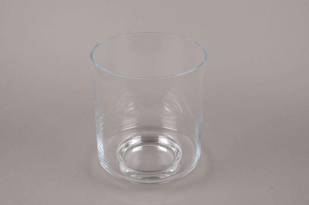 A207I0 Photophore en verre sur pied D22cm H26cm