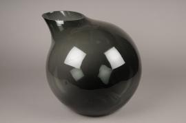 A208IH Design vase glass sphere black H37cm