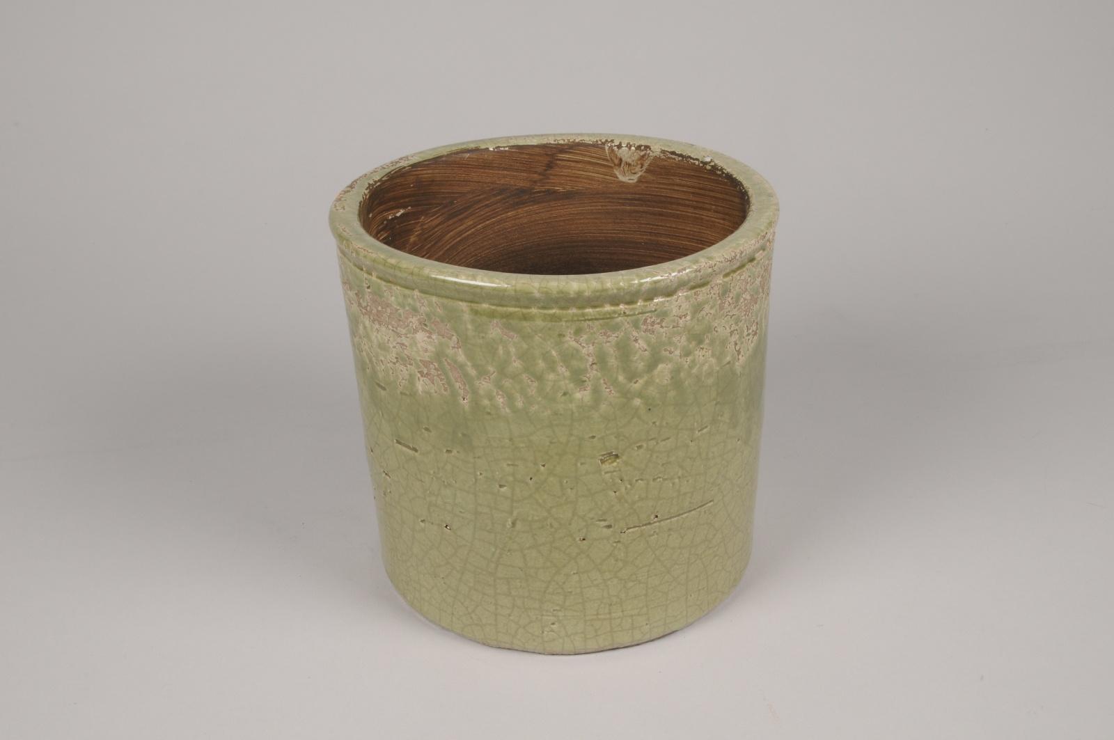 A209LE Cache-pot en céramique vert D18.5cm H17.5cm