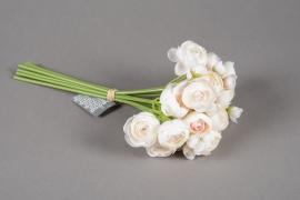 a209nn Bouquet de renoncules artificielles crème H28cm