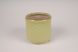 A210NM Green ceramic planter D12cm H11cm