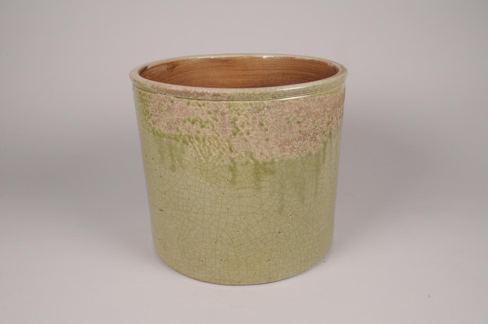A211LE Cache-pot en céramique vert D29.5cm H26cm