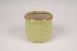 A211NM Cache-pot en céramique vert D14cm H13cm