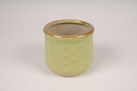 A211NM Green ceramic planter D14cm H13cm