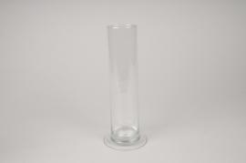A212IH Vase en verre cylindre sur pied D6cm H25cm