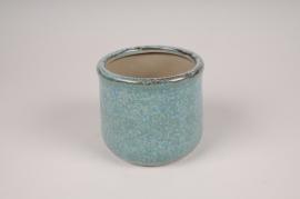 A213NM Cache-pot en céramique turquoise D14cm H13cm