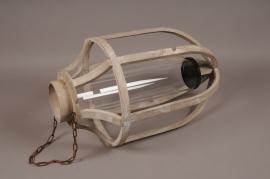 A213U7 Lanterne en bois D39cm H65cm