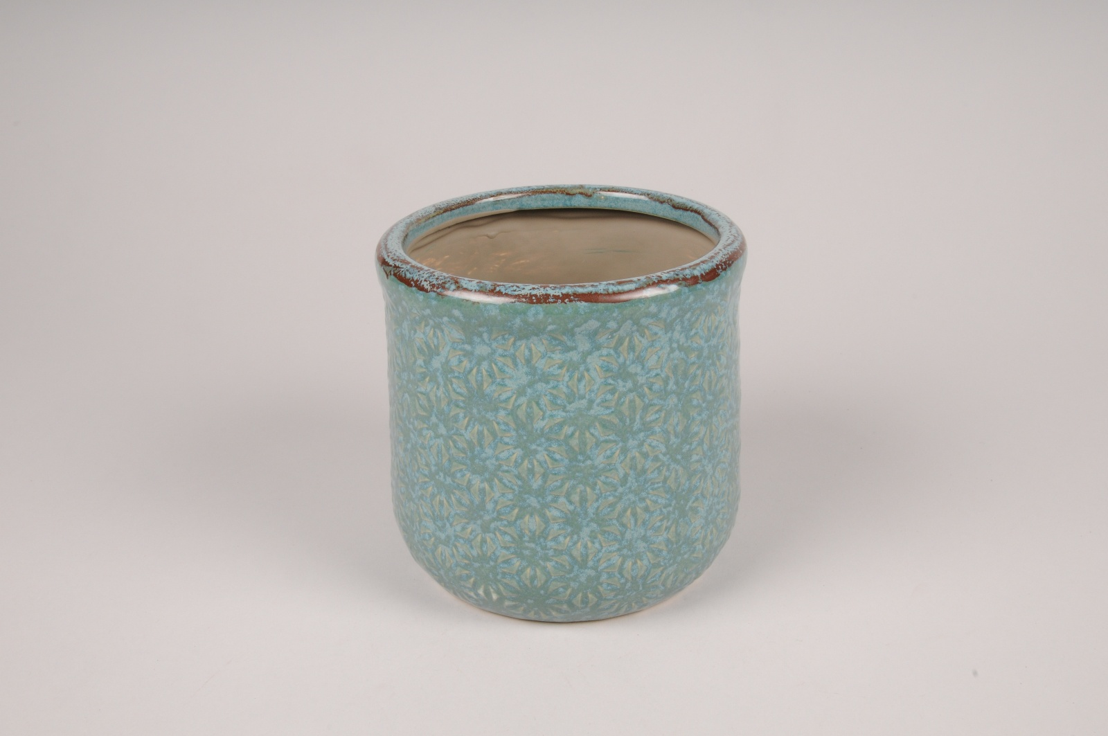 A214NM Cache-pot en céramique turquoise D12cm H11cm
