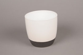 A215HX Cache-pot en céramique blanc D14cm H13cm