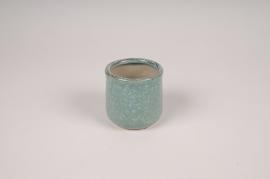 A215NM Cache-pot en céramique turquoise D8cm H7.5cm