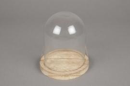 A215U7 Cloche en verre avec plateau bois D11cm H12.5cm
