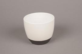 A221HX Cache-pot en céramique blanc D11cm H9cm