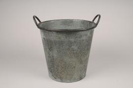 A221NM Cache-pot en zinc gris D28cm H26cm