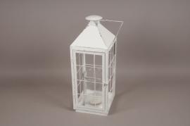 A221U7 Metal white lantern D13cm H17cm